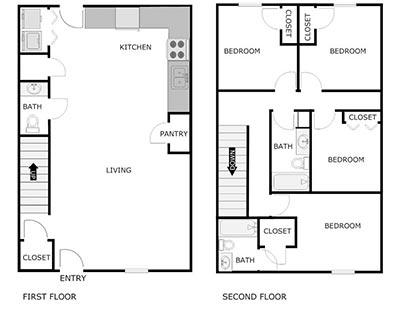 4 bed, 2.5 bath floor plan
